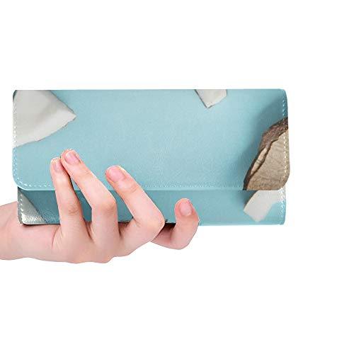 Einzigartige benutzerdefinierte Zusammensetzung frisches Kokosöl auf Farbe Frauen Trifold Wallet Lange Geldbörse Kreditkarteninhaber Fall Handtasche