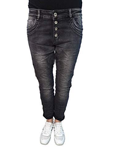 Karostar Elasticizzato Ragazzo Larghi Jeans Borchie Strisce Laterali - Lavato Black, 40