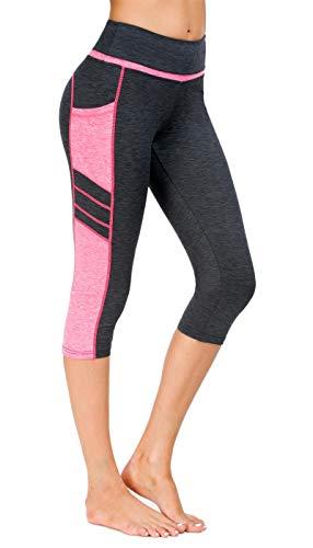 Flatik Damen Netzoberfläche Sport Gym Yoga Laufen Fitness Leggings Hose, Grau Pink(3/4 Capri), M