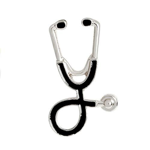 AILUOR Persönlichkeit Stethoskop Brosche Pins, Mode Cartoon Arzt Krankenschwester Emaille Anstecknadel für Unisex Kind Damenbekleidung Dekorieren (Silber)