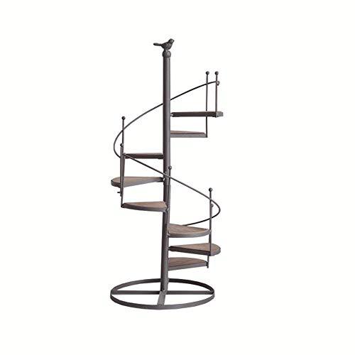 WAJI Europese smeedijzeren l trap bloemenstandaard vloertype roterende meerlagige ladder vogel bloemenstandaard balkon woonkamer bloempot plank