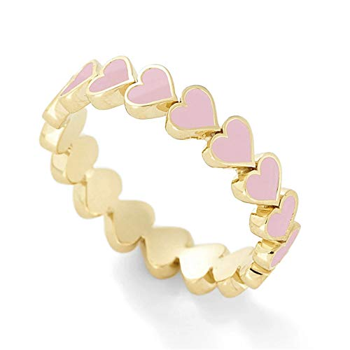 Richo Forever Love Heart Romantic Vintage Enamel Ring for Women Jewelry Band Ring