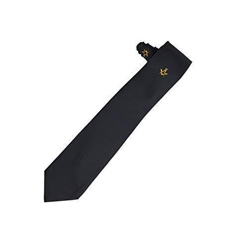 Accesorio Masónico Corbata Seda con Oro Bordado a Máquina Cuadrado Brújula Logo