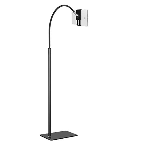 Creatop Soporte de piso para tableta con cuello de cisne flexible y base estable, soporte para tableta ajustable de 360 grados para iPad, teléfono celular dentro de 3.5 a 10 pulgadas, negro