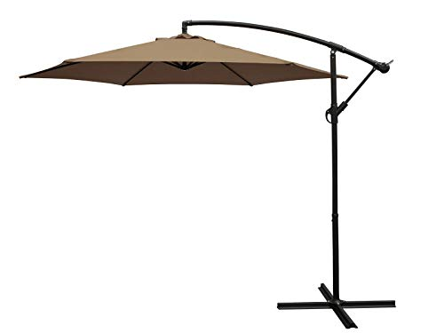 DEGAMO Ampelschirm 300cm taupefarben mit Ständer, Gestell Aluminium, UV Schutzfaktor 50+, Material Bezug 100% Polyester, Material Untergestell Aluminium, Gewicht 10kg