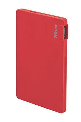 Trust Urban 2200T ultradunne externe accu (geschikt voor smartphone, 2200 mAh) rood