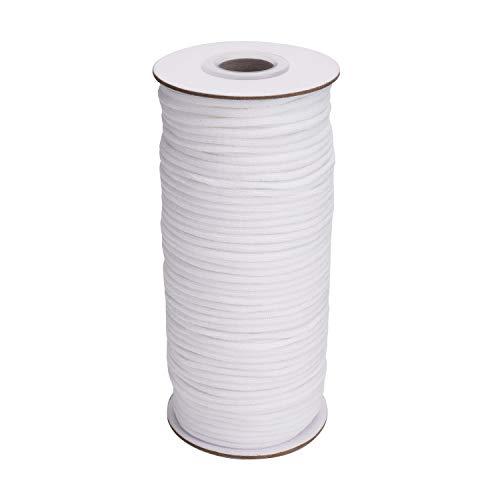 Blanco elástico de 20 Meter de longitud 3 mm de diámetro. Cordón elástico trenzado/Banda elástica/Cuerda elástica/Bungee - Bobina elástica de punto elástico redondo para ropa