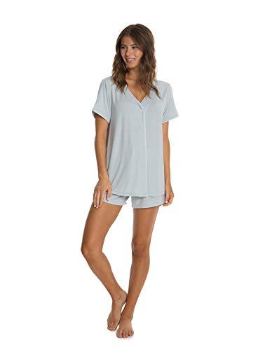 Barefoot Dreams Women's Luxe Milk Jersey Short Sleeve Piped PJ Top & Boxer Set, Sleepwear Set