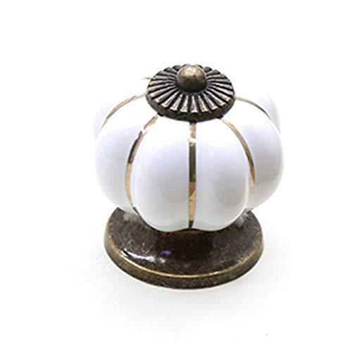 OIUY 1001A Manijas de cerámica de Calabaza Perillas para cajones Manijas para Puertas de armarios Manijas para gabinetes de un Solo Orificio con Tornillos Manijas para Muebles - 1001A Blanco - 2.0cm