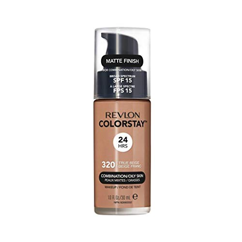 Revlon ColorStay Liquid Foundation Makeup for Combination/Oily Skin SPF 15, Longwear Medium-Full Coverage with Matte Finish, True Beige (320), 1.0 oz
