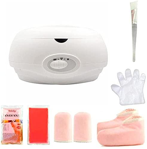 Calentador de parafina Baño de parafina Calentar muy Rápido Calentador de Parafina para Manos y Pies Juego botines aguantes+parafina (Blanco)