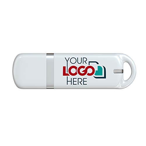 Possibox Custom Promotional USB Flash Drive 128MB Printed with Your Logo - as Campaign Gift - Bulk - Whtie 100 Pack