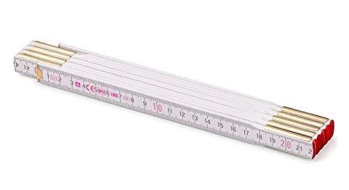 Metrie PROFI Holz Zollstock/Zollstöcke 1x Stück|2m langer Gliedermaßstab, Meterstab mit Duplex-Teilung - Weiß, Hergestellt in der EU