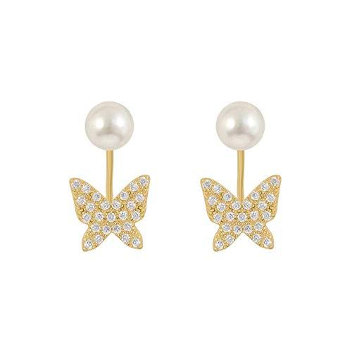 Yhhzw Pendientes De Botón De Mariposa De Cristal Simple Clásico Para Mujer Joyería De Perlas Simuladas
