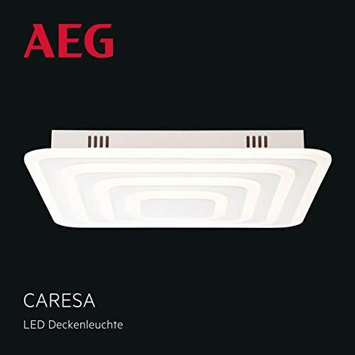Caresa LED plafondlamp, traploos dimbaar over wanddimmer, 47x47cm, 80 Watt, 8000 lumen, 3000 Kelvin in wit