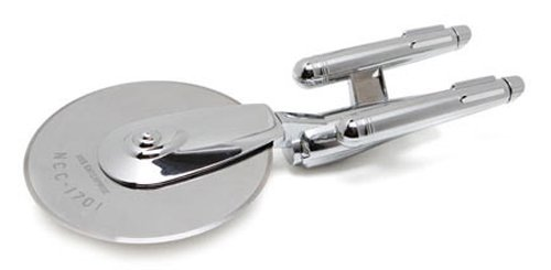 ThinkGeek Star Trek Enterprise Pizza Cutter - Laser-Etched Stainless-Steel Blade with Solid Zinc-Alloy Chromium-Plated Body