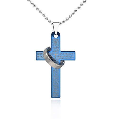BJGCWY 1 Unidad, Letra Cruzada de Acero de Titanio Plateado Dorado con Anillo Colgante, Collar para Hombres, Regalo de joyería Masculina, 52x31mm, azul-H6821