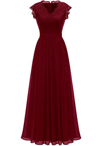 Dressystar 0050 V Neck Sleeveless Lace Bridesmaid Dress Wedding Party Gown XL Dark Red