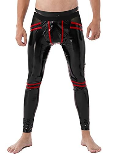 TiaoBug Herren Metallic Hose Slim fit Lederhose Stretch Leggings Lack Leder Männer Wetlook Ouvert Unterhose Tights Pants Erotik Reizwäsche Clubwear Schwarz Rot B XL