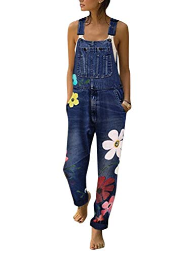 Tomwell Jeanslatzhose Damen Latzhose Jeans Hose Vintage Loose fit Jumpsuit Overall Blumen Denim Playsuit Romper A Dunkelblau 42