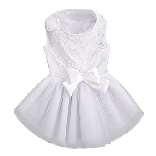 ASENKU Dog Dress Pet Wedding Dress Princess Lace Puppy Birthday Party Outfit Formal Apparel Girl for Small Medium Dogs Cats (Large, White)