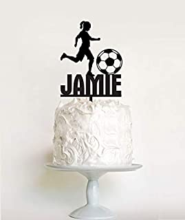 Liz66Ward Girls Soccer Cake Topper Birthday, Girl Soccer Player Birthday Cake Toppers Personalized Name,Birthday Gifts for Girls