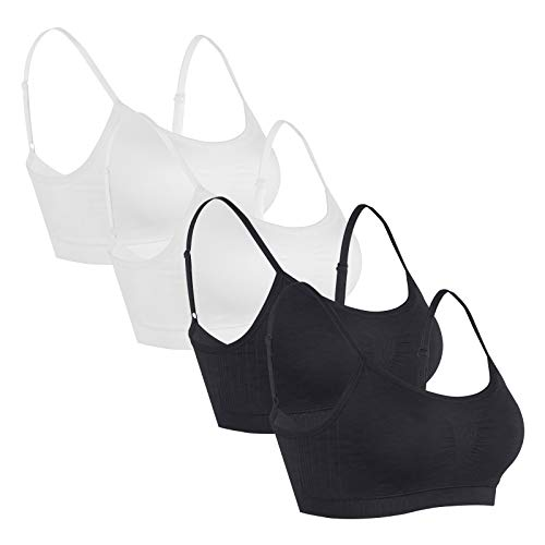 ETZ 4 Pack Women's Seamless Sports Bra Light Support Yoga Bras Everyday Bralette BBWW 2XL