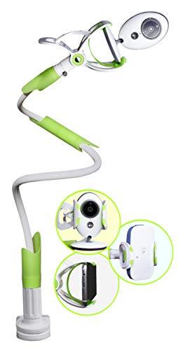 Babyphone Halterung, Befestigung für Babyfon mit Kamera oder Audio Gegensprechfunktion und Smartphones, zB für Philips Avent, NUK Eco Control, Reer, Motorola, Angelcare, Samsung, iPhone – grün, Atairs