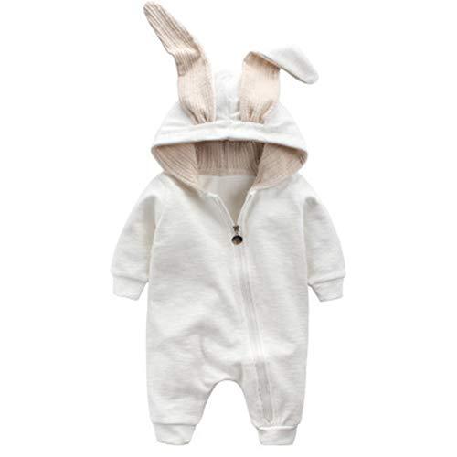 Leoie Overol con Orejas de Conejo para recién Nacido, con Capucha, de algodón, Blanco, 73