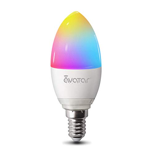 Alexa Lampen E14, Wlan Glühbirnen 5w 2800K Dimmbar Birne 16 Millionen Farben Kein Hub Erforderlich Kompatibel mit Google Home by Avatar Controls