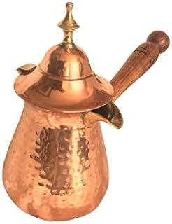 Premium Brass Copper Turkish Coffee Warmer Pot with Handle, Also for Turkish Greek Arabic Tea or Coffee 4-5 People(500 ML...
