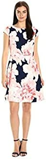 Sandra Darren Women's 1 Pc Cap Sleeve Crepe Printed Fit & Flare Dress