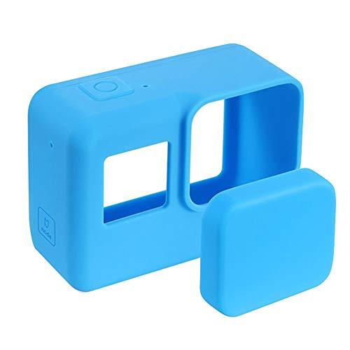 Funda protectora de silicona suave y portátil a prueba de polvo de piel duradera con tapa de lente Cámara de acción Cubierta antiarañazos Fácil de instalar accesorios para Gopro Hero 5 6 7(Azul)
