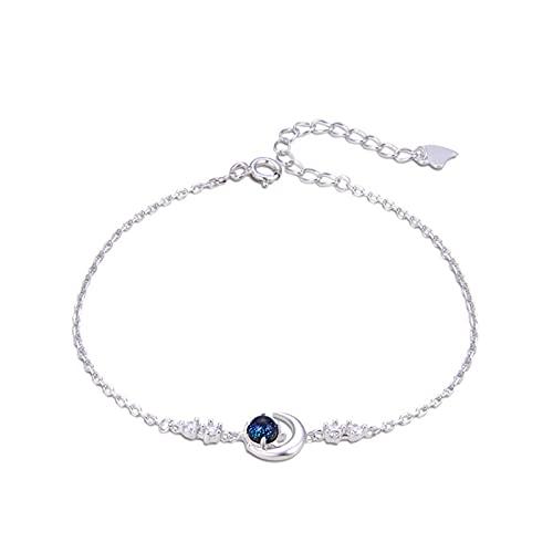 Pulsera para mujer de color esmalte joyería S925 plata con incrustaciones de circonio estrella luna pulsera