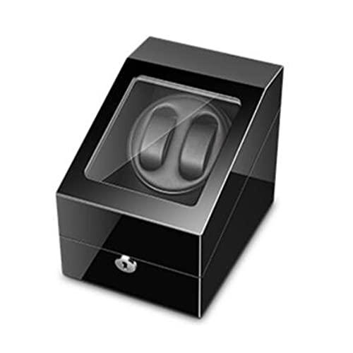 XZQ Enrollador De Reloj para 2 Relojes Automáticos, con 3 Espacios Adicionales para Guardar Relojes, Iluminación LED, Acabado De Piano De Carcasa De Madera, Motor Silencioso Y USB