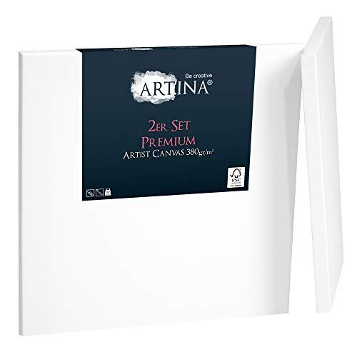 Artina Premium Leinwand 2er Set in Premium Qualität 60x60cm Formstabil bespannt & 3-Fach weiß vorgrundiert Leinwand auf FSC® Keilrahmen 380g/m²