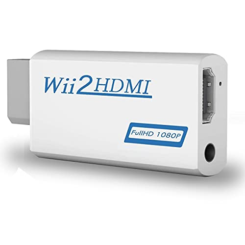 COOLEAD Convertidor Wii a HDMI Adaptador Wii2HDMI Converter Wii to HDMI Conector con Salida de Video Full HD 1080p 720p y Audio de 3.5mm para Wii U Wii smart HDTV Monitor Proyector