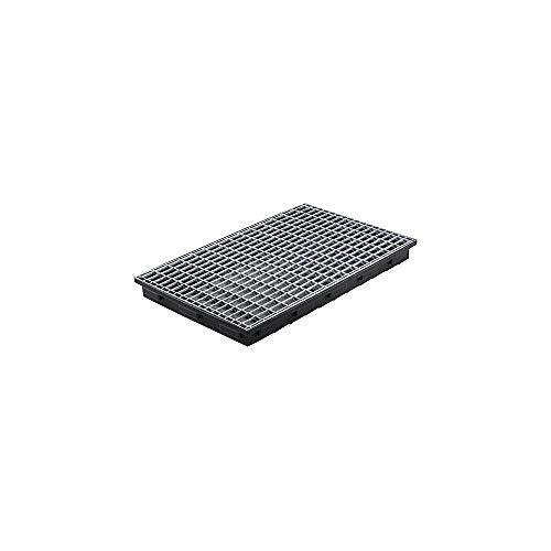 CEMO 8077 PE-Auffangwanne flach mit verzinktem Stahl Gitterrost, schwarz, 30 L