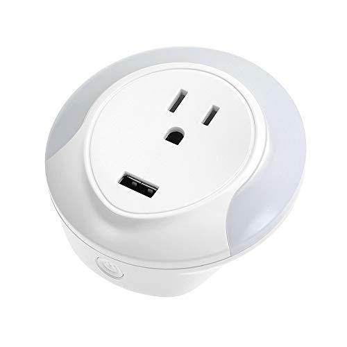 Mini enchufe WiFi inteligente con iluminación nocturna LED Puerto de carga USB WIFI Control remoto de enchufe inteligente por teléfono inteligente desde cualquier lugar
