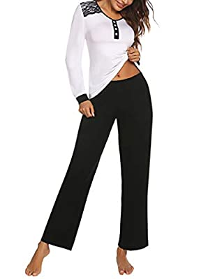 Avidlove Pajamas for WomenLong Sleeve Sleepwear with Long Pants Cotton Nightwear Pj Lounge Sets S-XXL Black