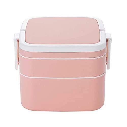 Bento Box, Caja de almuerzo con cuchara, plastico Doble Capa Contenedor de ensalada, Fiambrera Prueba Fugas Reutilizable, para los Adultos y Niños Lavavajilla (Square,Pink)