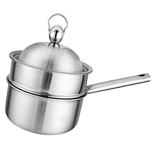 Turkse Coffee Warmer En Boter Melting Pot Stainless Steel - Zilver, 18cm inductie pan dmqpp (Color : Silver, Size : 18cm)