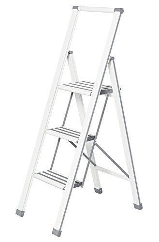 Preisvergleich Produktbild WENKO Leichte Aluminium Trittleiter mit 3 Stufen für 75 cm höheren Stand,  rutschsichere XXL-Stufen,  Design Klapptrittleiter mit 44 x 127 x 5, 5 cm,  TÜV Süd zertifiziert,  weiß