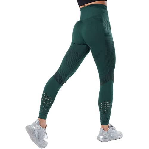 QTJY Leggings sin Costuras de Fitness, Pantalones de Yoga de Cintura Alta para Levantar la Cadera, Pantalones de Entrenamiento de Entrenamiento para Mujeres de Gimnasia GS