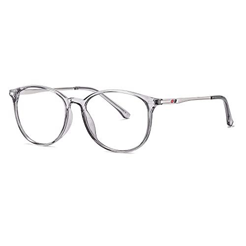ZUVGEES Gafas redondas TR90 con filtro de luz azul para hombre y mujer, ligeras, antiazules., Transparent (Gräulich),