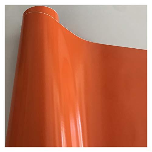 Carbon Folie 10/20/30/40/50 * 152cm Schwarz Glanzvinylfilm Glanz Glänzend Auto-Verpackungs-Folien-Aufkleber mit Luft-Blase Kostenloses Motorrad Car Wrapping Folie Auto (Color Name : Orange)