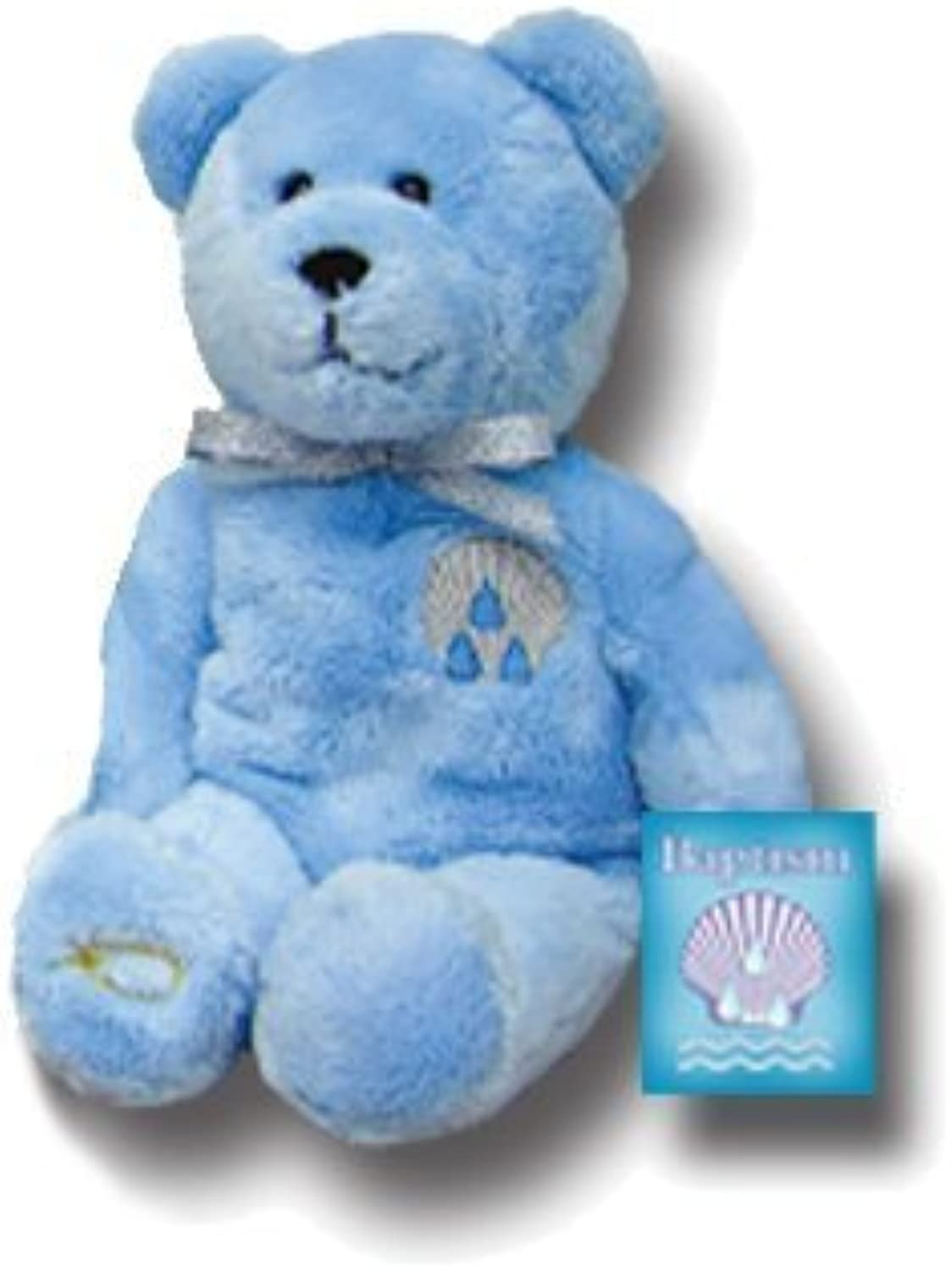 Holy Bears, bluee Christening - Baptism Bear, Stuffed Animal. 8 Inch Plush bluee Bear with Embroidered Baptismal Symbol. Inside Hangtag  Peter Replied, Repent and Be Baptized, Every One of You, in the Name of Jesus Christ for the Forgiveness of Your Sins.