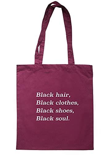 illustratedidentity Tragetasche mit langen Griffen, schwarzes Haar, schwarze Kleidung, schwarze Schuhe, 37,5 x 42 cm, kastanienbraun, Einheitsgröße