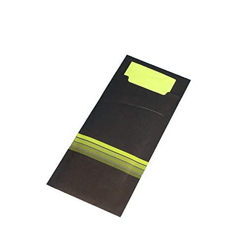 Pro DP 520 Bestecktaschen Serviettentaschen schwarz Limette grün inklusive Serviette 33x33cm 2lg Lime grün