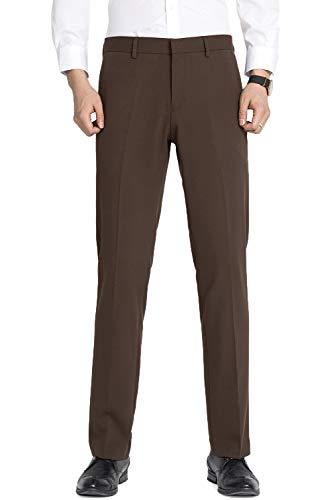 INFLATION Herren Anzughose Straight Leg Stretch Slim Fit Überöße Braun Hose 30W x 32L